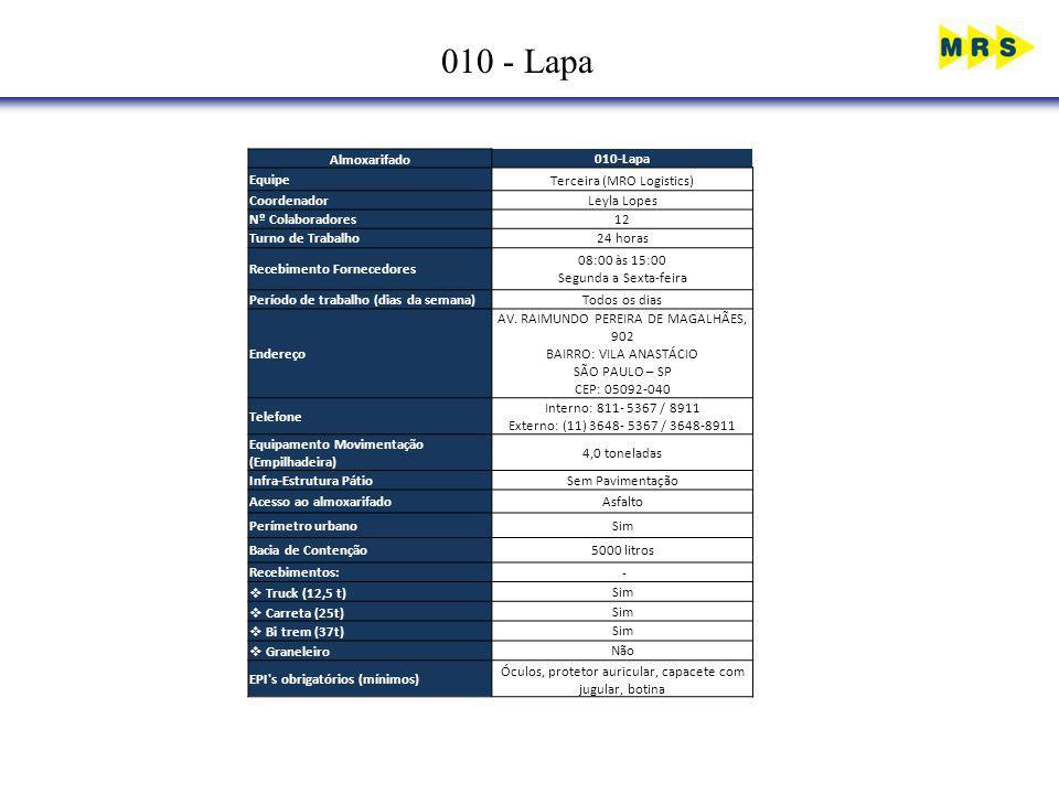 010 - Lapa Almoxarifado010-Lapa EquipeTerceira (MRO Logistics) CoordenadorLeyla Lopes Nº Colaboradores12 Turno de Trabalho24 horas Recebimento Fornece