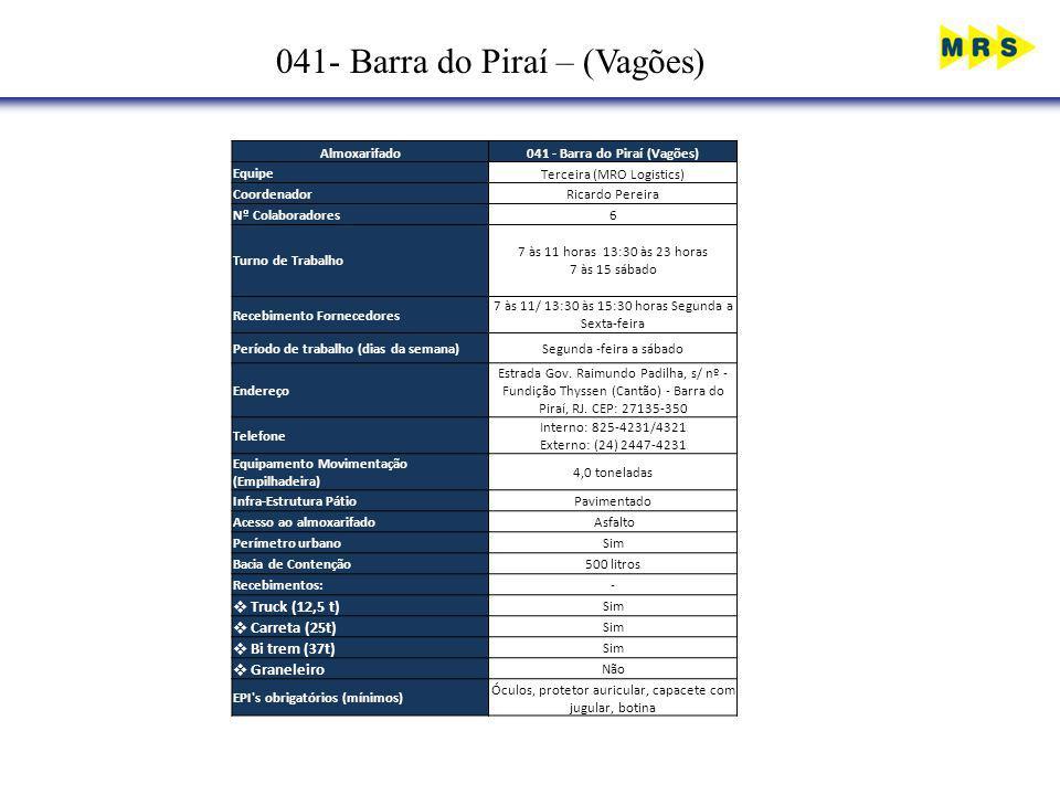 041- Barra do Piraí – (Vagões) Almoxarifado041 - Barra do Piraí (Vagões) EquipeTerceira (MRO Logistics) CoordenadorRicardo Pereira Nº Colaboradores6 T