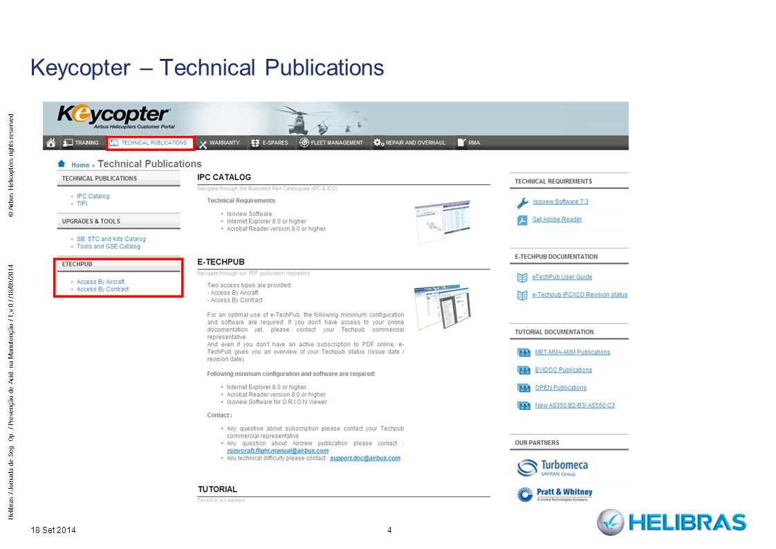 4 Keycopter – Technical Publications 18 Set 2014 Helibras / Jornada de Seg.