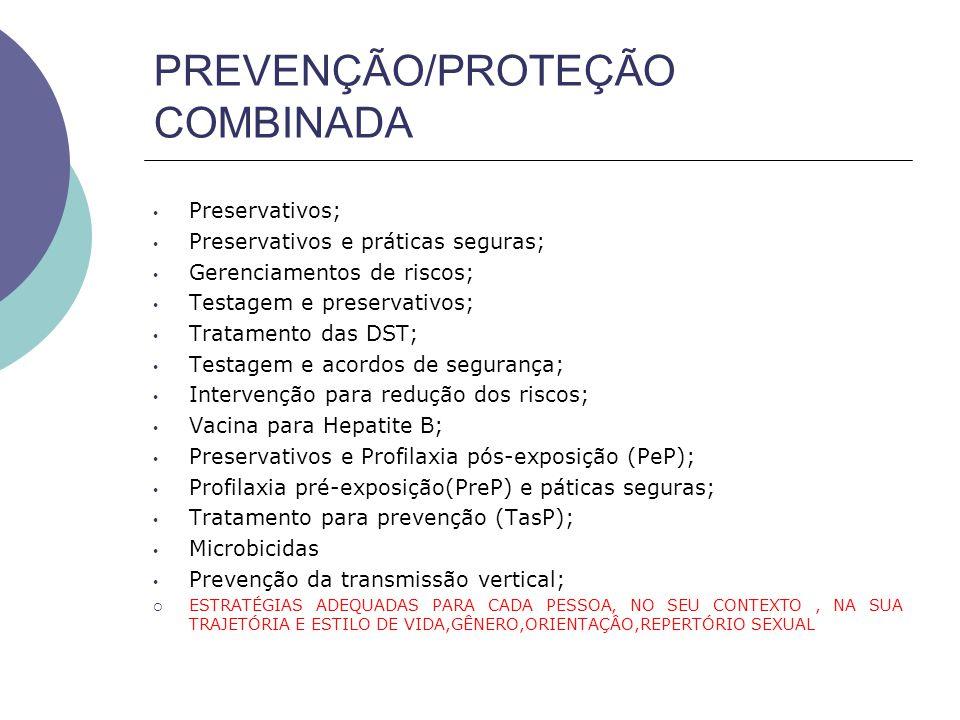 PREVENÇÃO/PROTEÇÃO COMBINADA Preservativos; Preservativos e práticas seguras; Gerenciamentos de riscos; Testagem e preservativos; Tratamento das DST; Testagem e acordos de segurança; Intervenção para redução dos riscos; Vacina para Hepatite B; Preservativos e Profilaxia pós-exposição (PeP); Profilaxia pré-exposição(PreP) e páticas seguras; Tratamento para prevenção (TasP); Microbicidas Prevenção da transmissão vertical;  ESTRATÉGIAS ADEQUADAS PARA CADA PESSOA, NO SEU CONTEXTO, NA SUA TRAJETÓRIA E ESTILO DE VIDA,GÊNERO,ORIENTAÇÂO,REPERTÓRIO SEXUAL