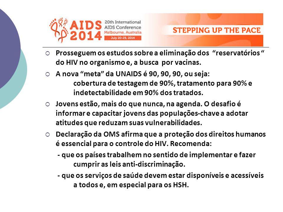  Prosseguem os estudos sobre a eliminação dos reservatórios do HIV no organismo e, a busca por vacinas.