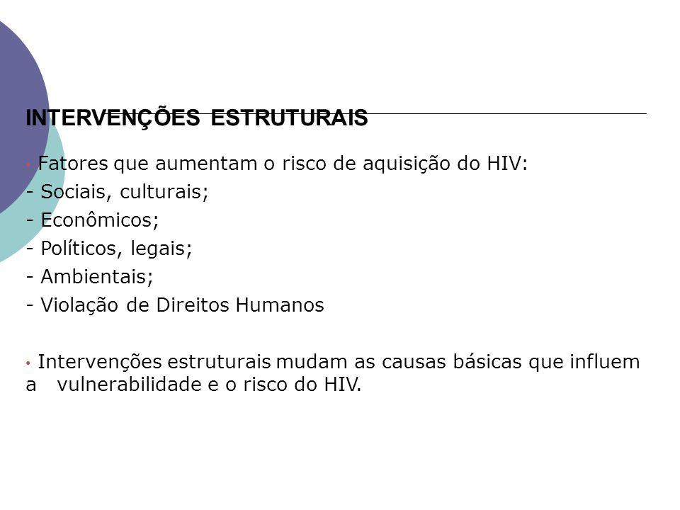 Fatores que aumentam o risco de aquisição do HIV: - Sociais, culturais; - Econômicos; - Políticos, legais; - Ambientais; - Violação de Direitos Humanos Intervenções estruturais mudam as causas básicas que influem a vulnerabilidade e o risco do HIV.