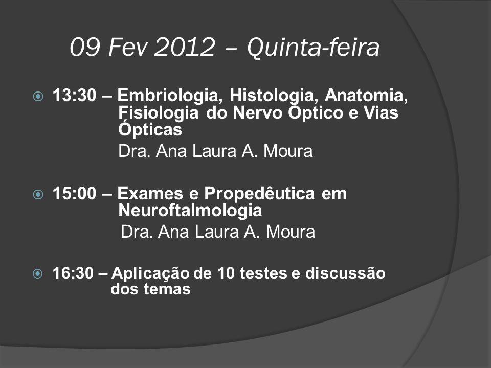 09 Fev 2012 – Quinta-feira  13:30 – Embriologia, Histologia, Anatomia, Fisiologia do Nervo Óptico e Vias Ópticas Dra. Ana Laura A. Moura  15:00 – Ex