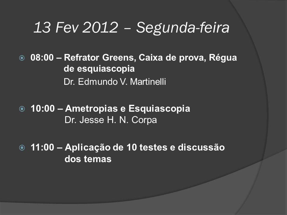 13 Fev 2012 – Segunda-feira  08:00 – Refrator Greens, Caixa de prova, Régua de esquiascopia Dr. Edmundo V. Martinelli  10:00 – Ametropias e Esquiasc