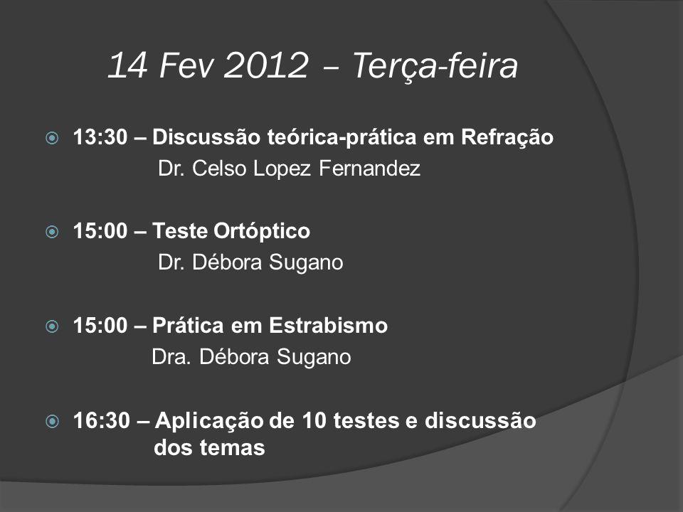 14 Fev 2012 – Terça-feira  13:30 – Discussão teórica-prática em Refração Dr. Celso Lopez Fernandez  15:00 – Teste Ortóptico Dr. Débora Sugano  15:0