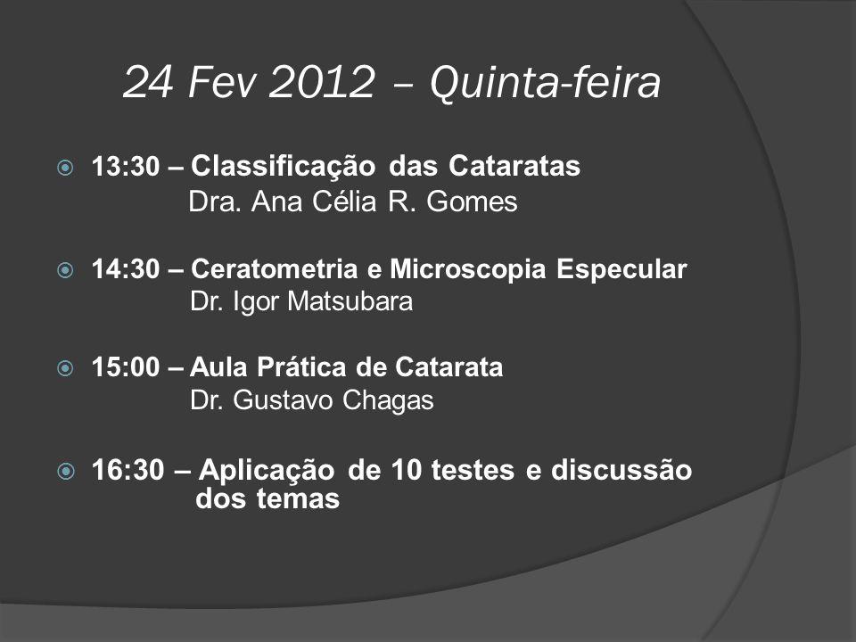 24 Fev 2012 – Quinta-feira  13:30 – Classificação das Cataratas Dra. Ana Célia R. Gomes  14:30 – Ceratometria e Microscopia Especular Dr. Igor Matsu