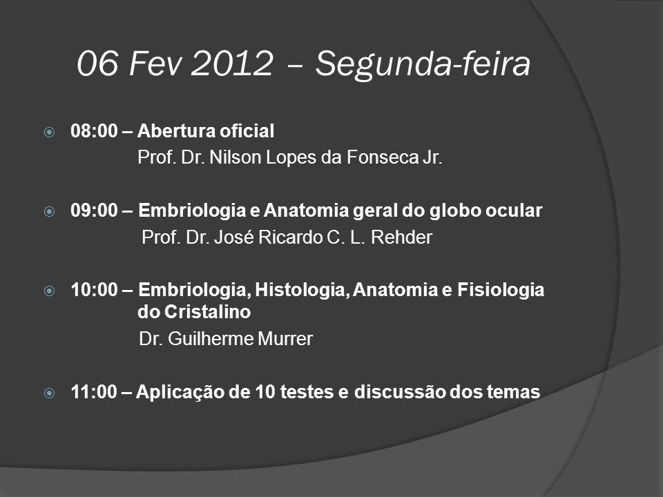 06 Fev 2012 – Segunda-feira  08:00 – Abertura oficial Prof. Dr. Nilson Lopes da Fonseca Jr.  09:00 – Embriologia e Anatomia geral do globo ocular Pr