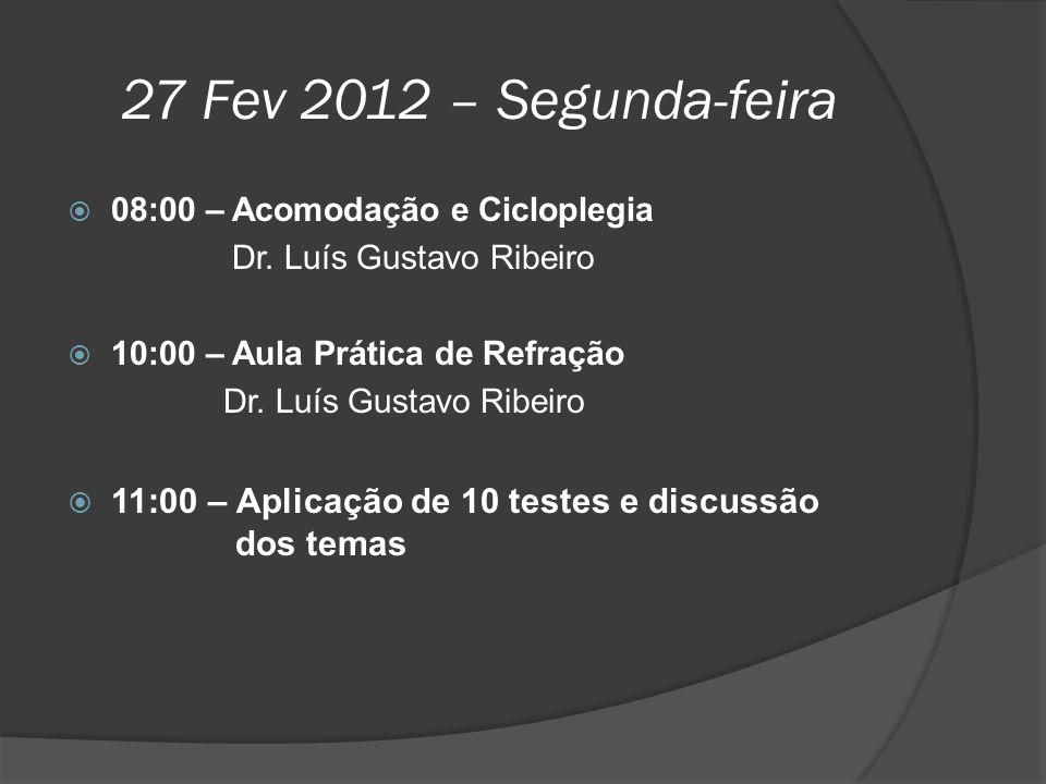 27 Fev 2012 – Segunda-feira  08:00 – Acomodação e Cicloplegia Dr. Luís Gustavo Ribeiro  10:00 – Aula Prática de Refração Dr. Luís Gustavo Ribeiro 