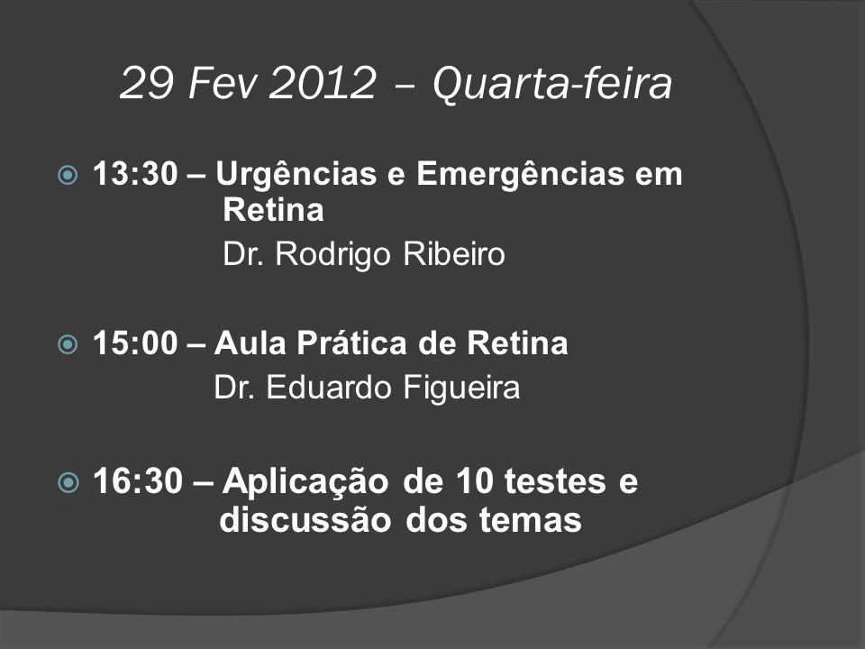 29 Fev 2012 – Quarta-feira  13:30 – Urgências e Emergências em Retina Dr. Rodrigo Ribeiro  15:00 – Aula Prática de Retina Dr. Eduardo Figueira  16: