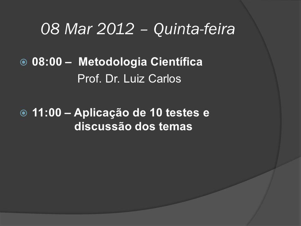 08 Mar 2012 – Quinta-feira  08:00 –Metodologia Científica Prof. Dr. Luiz Carlos  11:00 – Aplicação de 10 testes e discussão dos temas