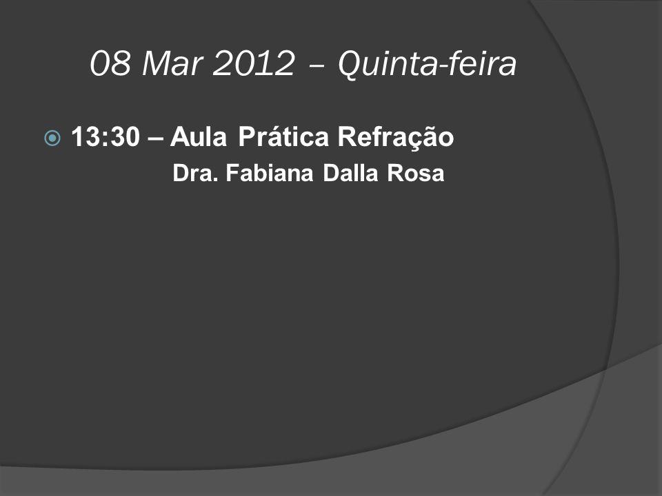08 Mar 2012 – Quinta-feira  13:30 – Aula Prática Refração Dra. Fabiana Dalla Rosa