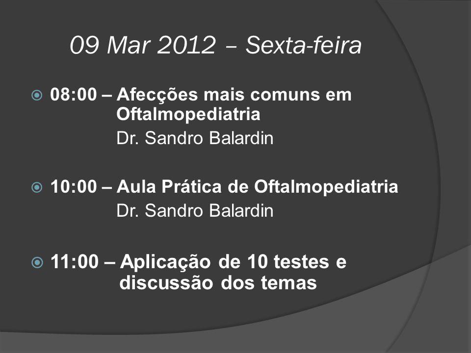 09 Mar 2012 – Sexta-feira  08:00 – Afecções mais comuns em Oftalmopediatria Dr. Sandro Balardin  10:00 – Aula Prática de Oftalmopediatria Dr. Sandro