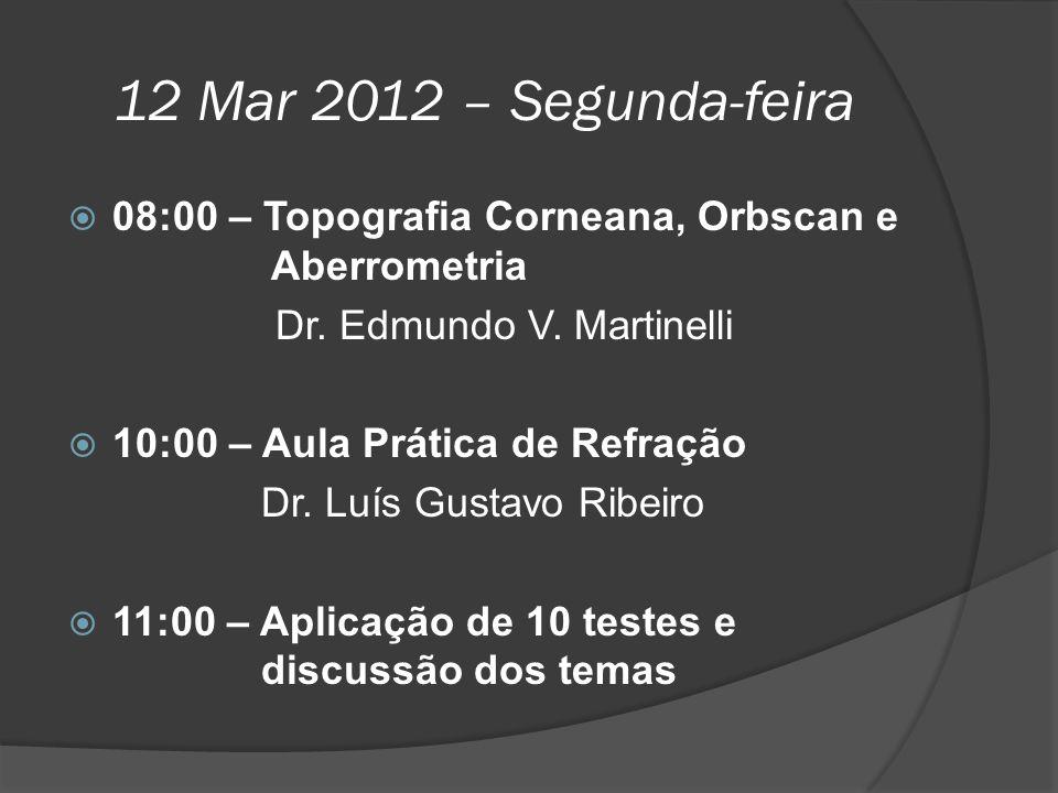 12 Mar 2012 – Segunda-feira  08:00 – Topografia Corneana, Orbscan e Aberrometria Dr. Edmundo V. Martinelli  10:00 – Aula Prática de Refração Dr. Luí