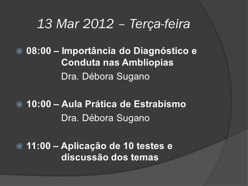 13 Mar 2012 – Terça-feira  08:00 – Importância do Diagnóstico e Conduta nas Ambliopias Dra. Débora Sugano  10:00 – Aula Prática de Estrabismo Dra. D