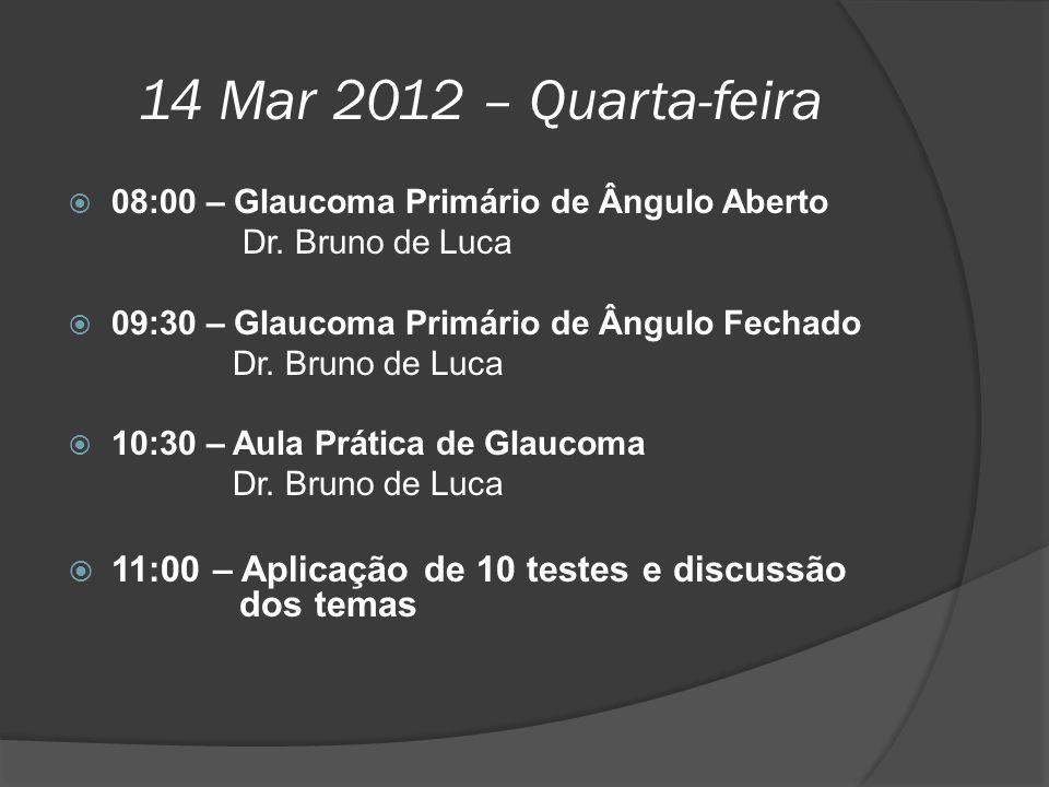 14 Mar 2012 – Quarta-feira  08:00 – Glaucoma Primário de Ângulo Aberto Dr. Bruno de Luca  09:30 – Glaucoma Primário de Ângulo Fechado Dr. Bruno de L