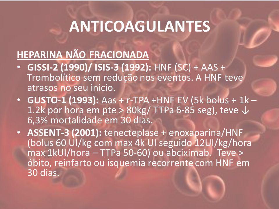 ANTICOAGULANTES HEPARINA NÃO FRACIONADA GISSI-2 (1990)/ ISIS-3 (1992): HNF (SC) + AAS + Trombolítico sem redução nos eventos.