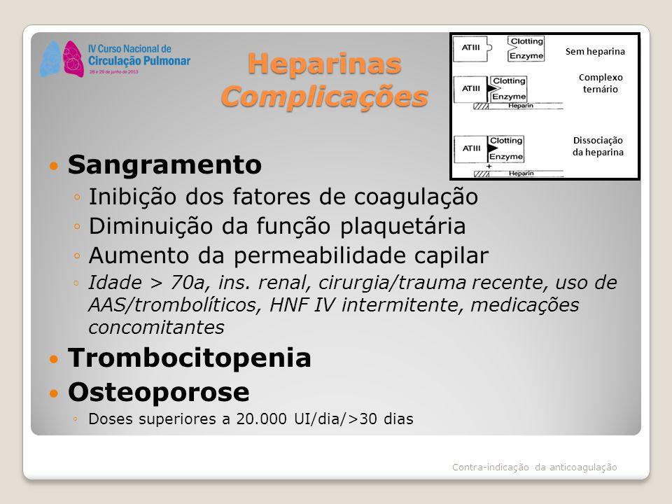 Heparinas Complicações Sangramento ◦Inibição dos fatores de coagulação ◦Diminuição da função plaquetária ◦Aumento da permeabilidade capilar ◦Idade > 7