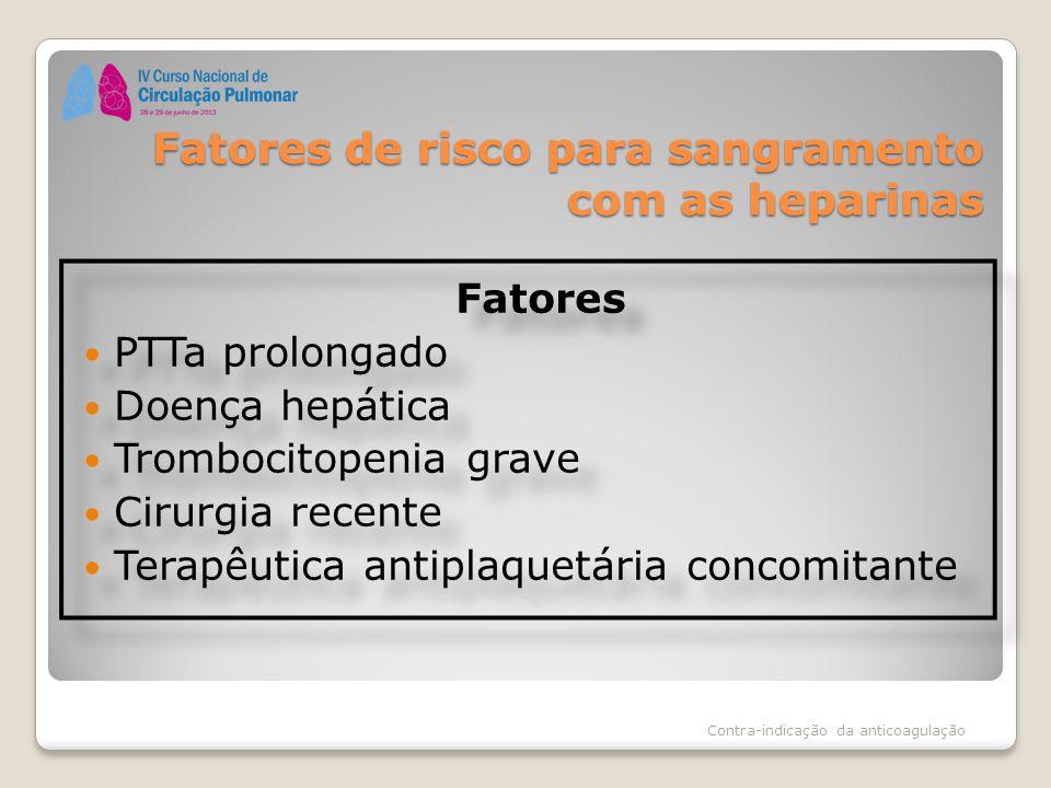 Fatores de risco para sangramento com as heparinas Fatores PTTa prolongado Doença hepática Trombocitopenia grave Cirurgia recente Terapêutica antiplaq