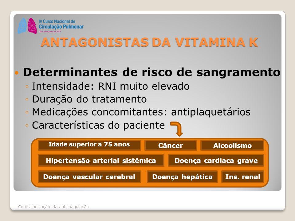 Determinantes de risco de sangramento ◦Intensidade: RNI muito elevado ◦Duração do tratamento ◦Medicações concomitantes: antiplaquetários ◦Característi