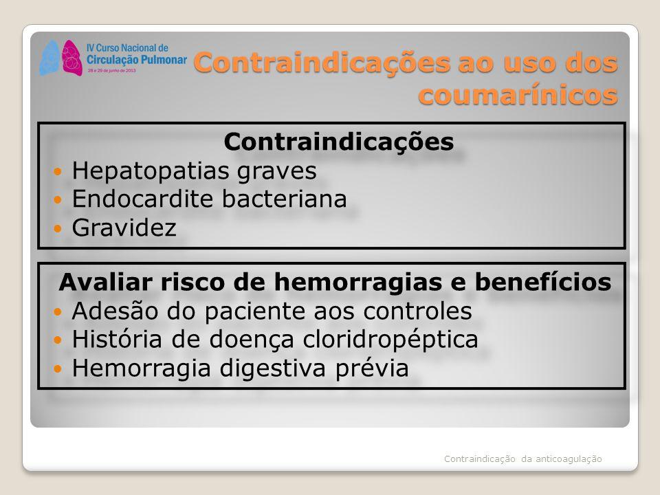 Contraindicações ao uso dos coumarínicos Contraindicações Hepatopatias graves Endocardite bacteriana Gravidez Contraindicações Hepatopatias graves End