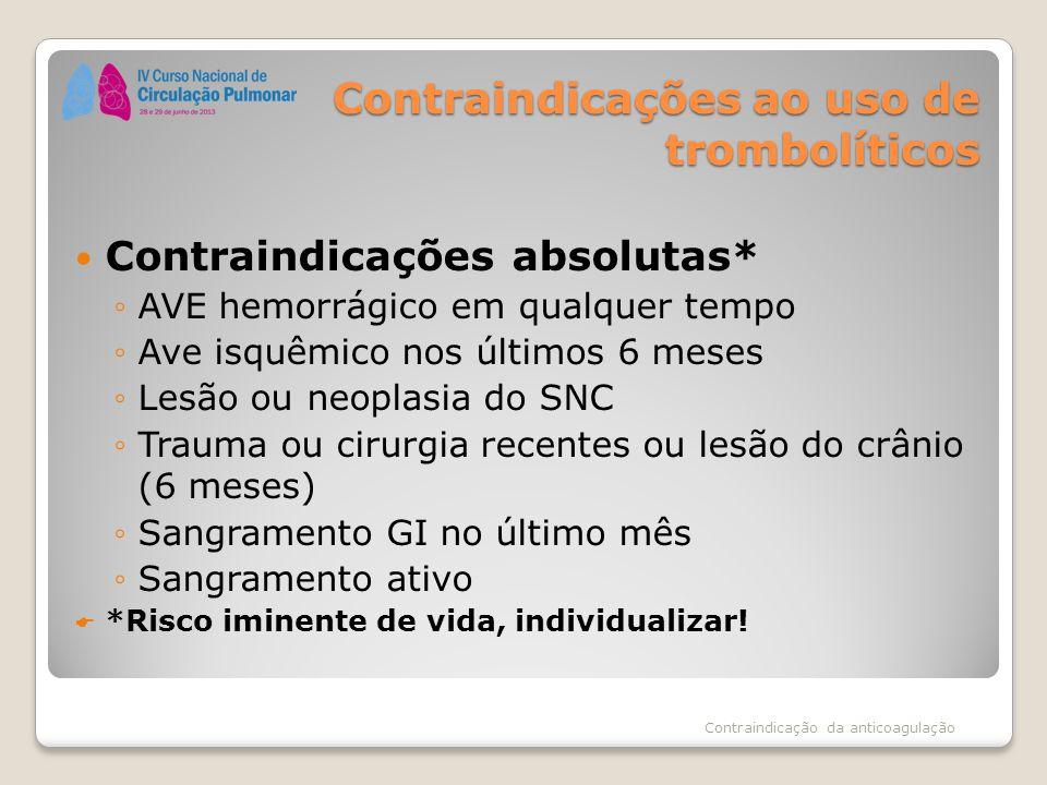 Contraindicações ao uso de trombolíticos Contraindicações absolutas* ◦AVE hemorrágico em qualquer tempo ◦Ave isquêmico nos últimos 6 meses ◦Lesão ou n