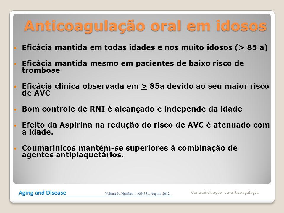 Anticoagulação oral em idosos Eficácia mantida em todas idades e nos muito idosos (> 85 a) Eficácia mantida mesmo em pacientes de baixo risco de tromb