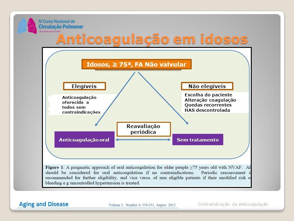 Anticoagulação em idosos Contraindicação da anticoagulação Idosos, ≥ 75ª, FA Não valvular ElegíveisNão elegíveis Anticoagulação oferecida a todos sem