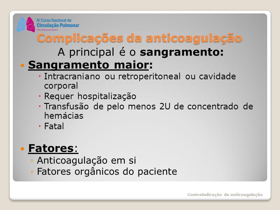 Complicações da anticoagulação A principal é o sangramento: Sangramento maior:  Intracraniano ou retroperitoneal ou cavidade corporal  Requer hospit