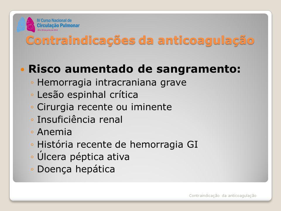 Contraindicações da anticoagulação Risco aumentado de sangramento: ◦Hemorragia intracraniana grave ◦Lesão espinhal crítica ◦Cirurgia recente ou iminen