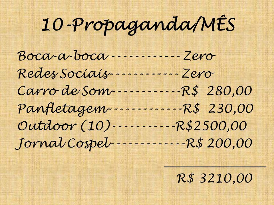 10-Propaganda/MÊS Boca-a-boca ------------ Zero Redes Sociais------------ Zero Carro de Som------------R$ 280,00 Panfletagem-------------R$ 230,00 Out