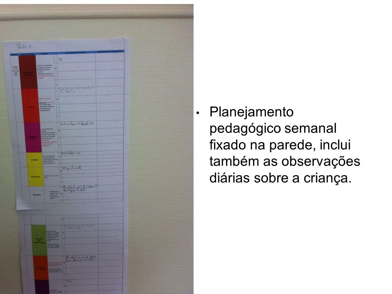 Planejamento pedagógico semanal fixado na parede, inclui também as observações diárias sobre a criança.