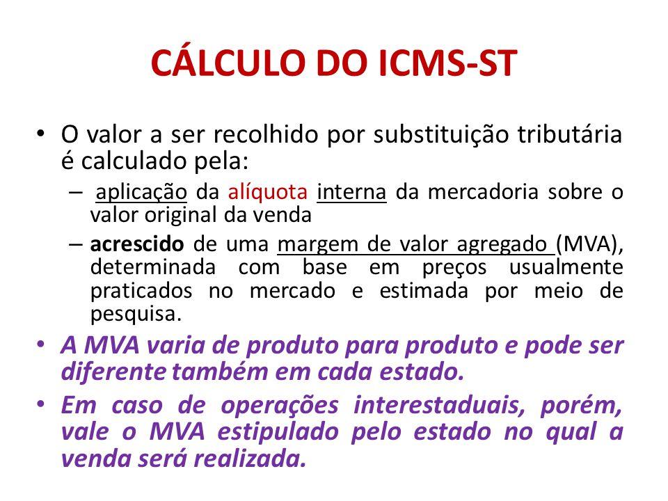 CÁLCULO DO ICMS-ST O valor a ser recolhido por substituição tributária é calculado pela: – aplicação da alíquota interna da mercadoria sobre o valor o