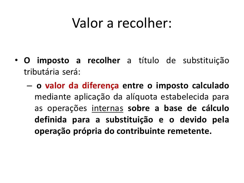 Valor a recolher: O imposto a recolher a título de substituição tributária será: – o valor da diferença entre o imposto calculado mediante aplicação d
