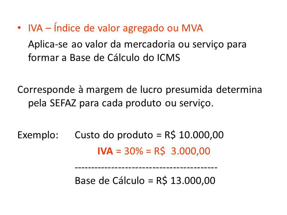 IVA – Índice de valor agregado ou MVA Aplica-se ao valor da mercadoria ou serviço para formar a Base de Cálculo do ICMS Corresponde à margem de lucro