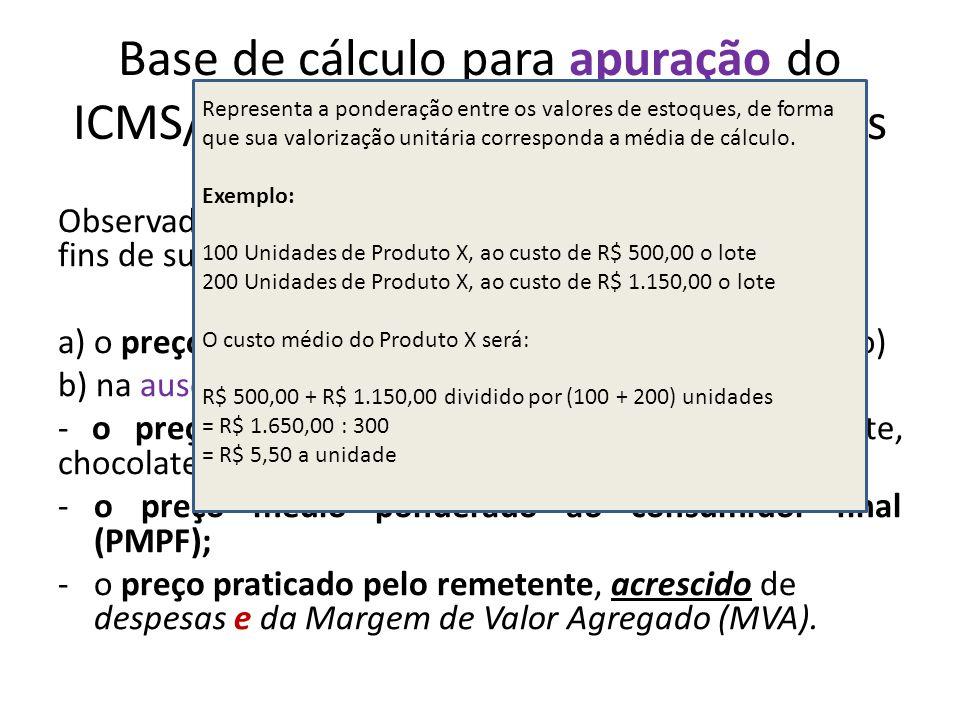 Base de cálculo para apuração do ICMS/ST nas operações subsequentes Observada a ordem, a base de cálculo do imposto para fins de substituição tributár