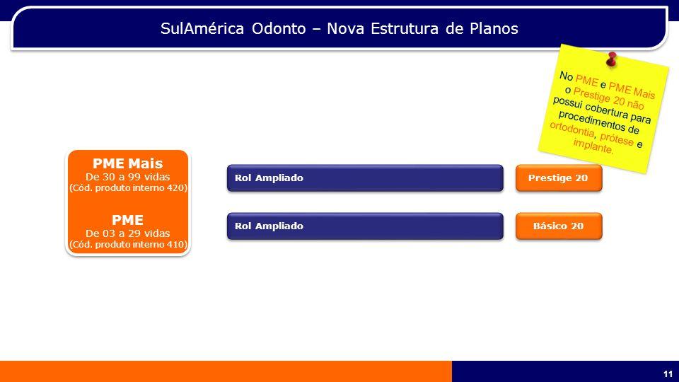 11 SulAmérica Odonto – Nova Estrutura de Planos PME Mais De 30 a 99 vidas (Cód.