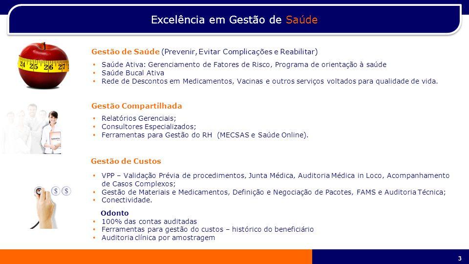 3 3 Excelência em Gestão de Saúde Relatórios Gerenciais; Consultores Especializados; Ferramentas para Gestão do RH (MECSAS e Saúde Online).