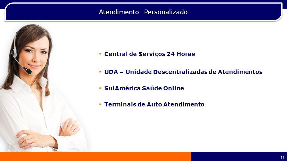 44 Atendimento Personalizado Central de Serviços 24 Horas UDA – Unidade Descentralizadas de Atendimentos SulAmérica Saúde Online Terminais de Auto Atendimento