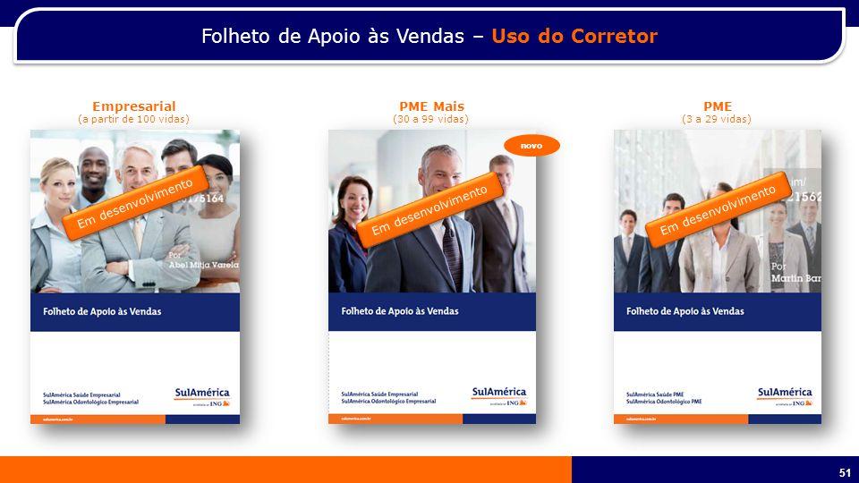 51 Folheto de Apoio às Vendas – Uso do Corretor Empresarial (a partir de 100 vidas) PME Mais (30 a 99 vidas) PME (3 a 29 vidas) Em desenvolvimento novo