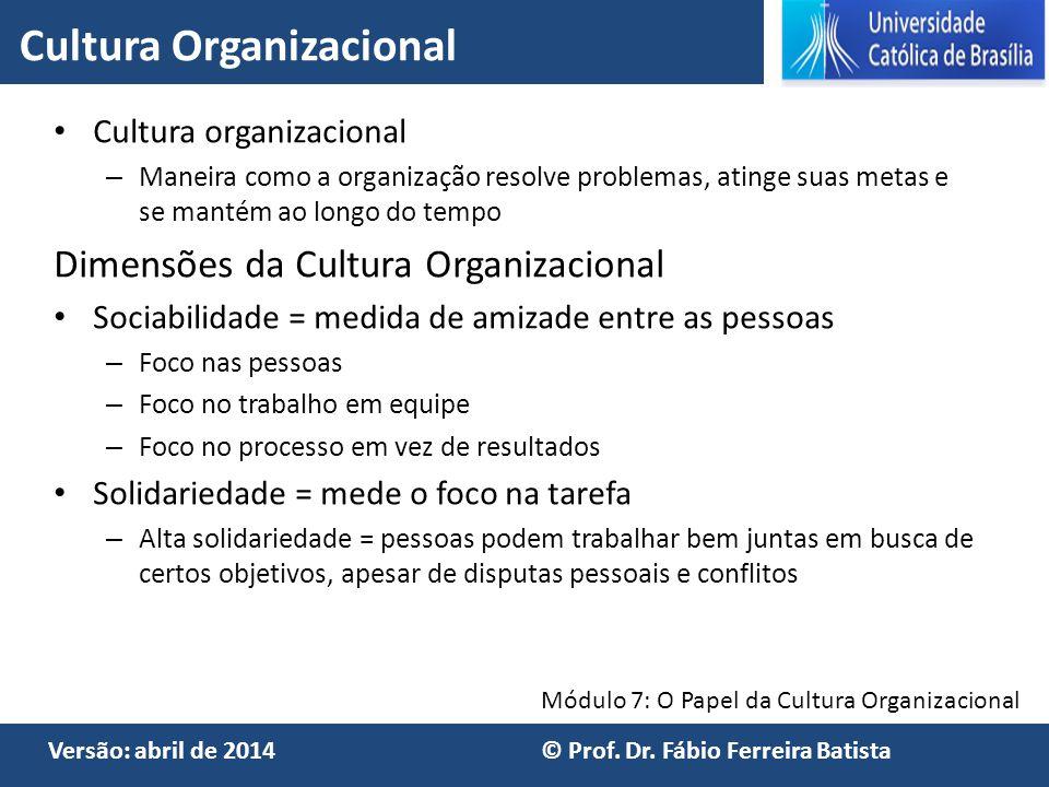 Módulo 7: O Papel da Cultura Organizacional Versão: abril de 2014 © Prof. Dr. Fábio Ferreira Batista Cultura organizacional – Maneira como a organizaç