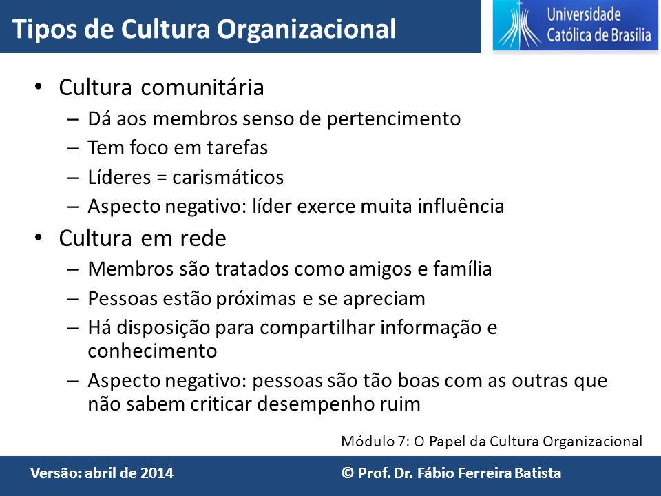 Módulo 7: O Papel da Cultura Organizacional Versão: abril de 2014 © Prof. Dr. Fábio Ferreira Batista Cultura comunitária – Dá aos membros senso de per