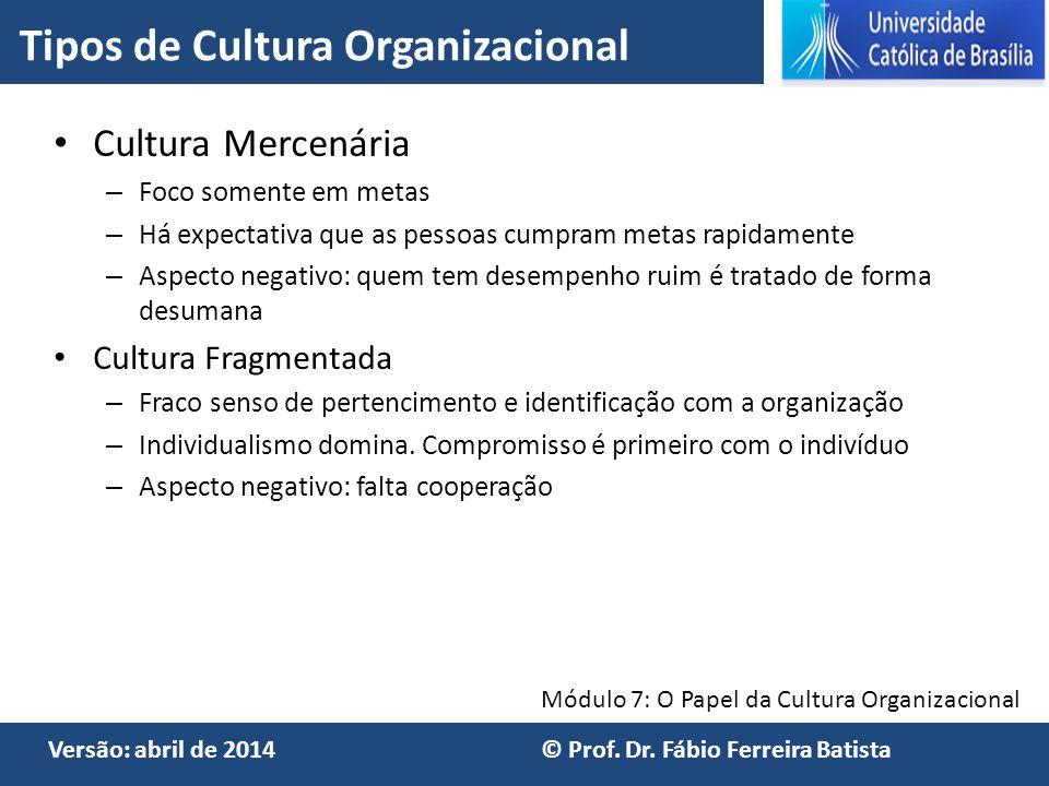 Módulo 7: O Papel da Cultura Organizacional Versão: abril de 2014 © Prof. Dr. Fábio Ferreira Batista Cultura Mercenária – Foco somente em metas – Há e