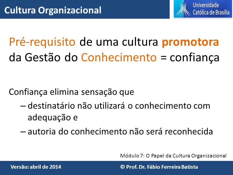 Módulo 7: O Papel da Cultura Organizacional Versão: abril de 2014 © Prof. Dr. Fábio Ferreira Batista Pré-requisito de uma cultura promotora da Gestão