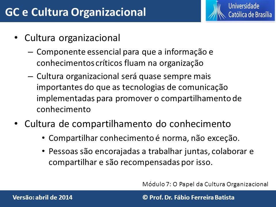 Módulo 7: O Papel da Cultura Organizacional Versão: abril de 2014 © Prof. Dr. Fábio Ferreira Batista Cultura organizacional – Componente essencial par