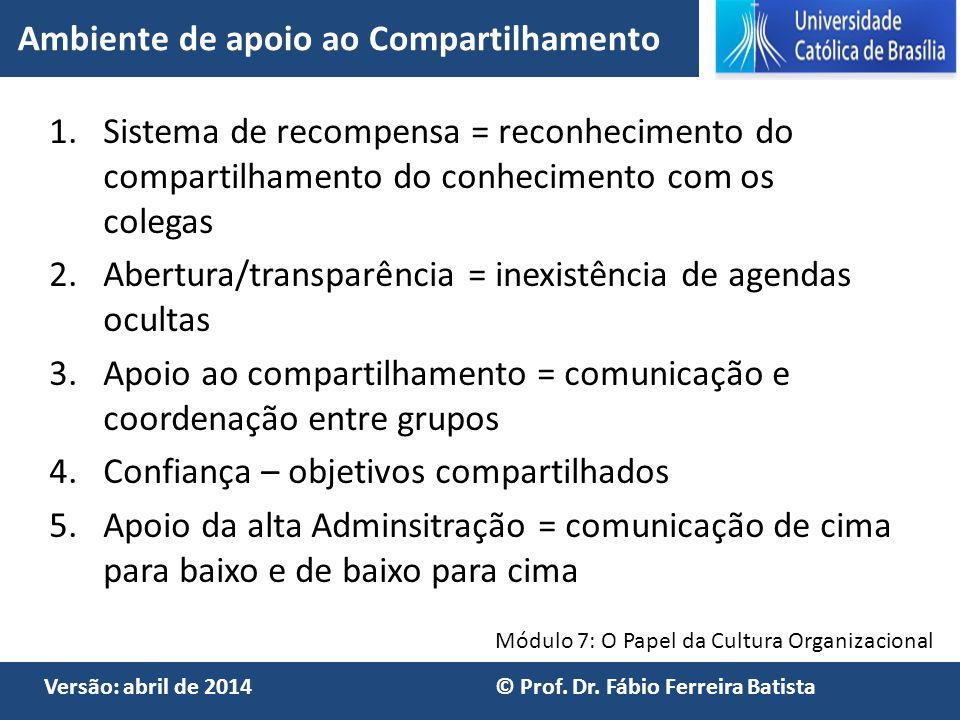 Módulo 7: O Papel da Cultura Organizacional Versão: abril de 2014 © Prof. Dr. Fábio Ferreira Batista 1.Sistema de recompensa = reconhecimento do compa