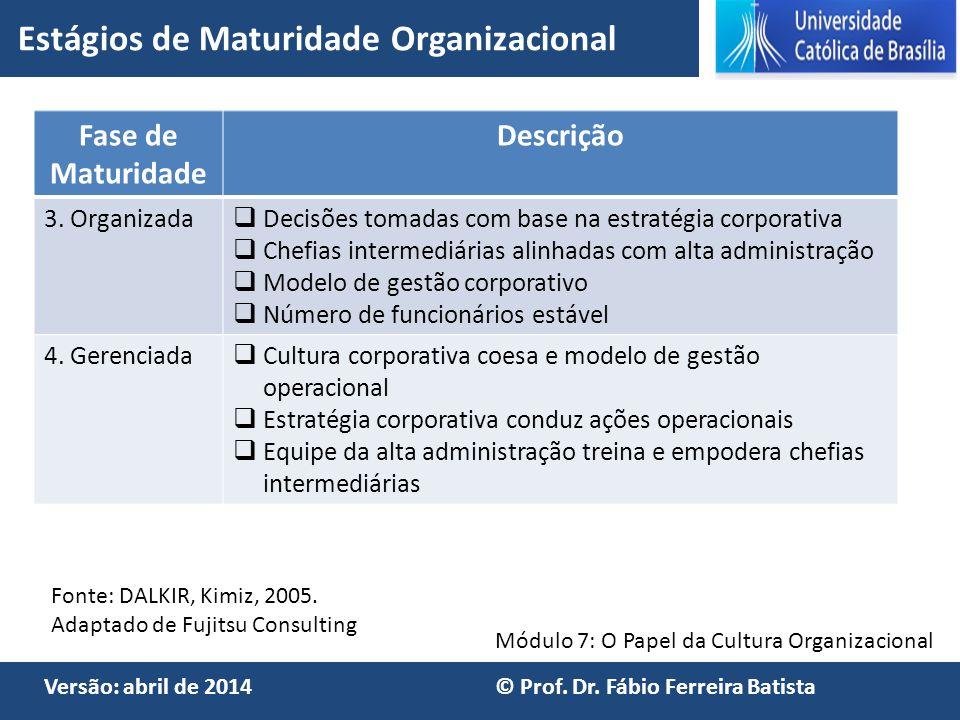 Módulo 7: O Papel da Cultura Organizacional Versão: abril de 2014 © Prof. Dr. Fábio Ferreira Batista Fase de Maturidade Descrição 3. Organizada  Deci