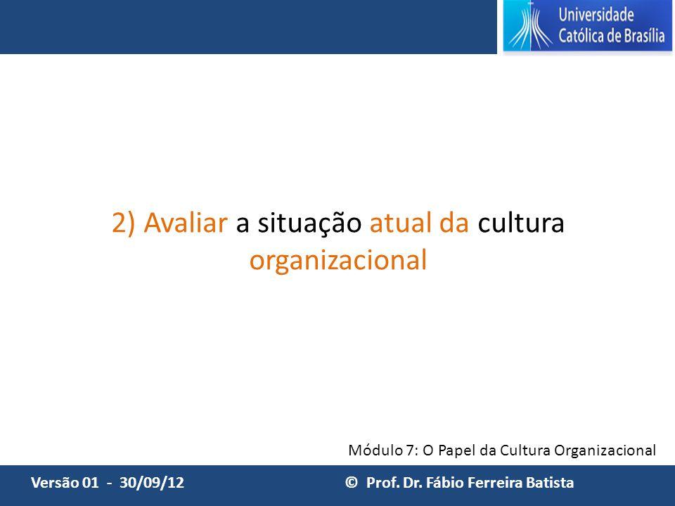 Módulo 7: O Papel da Cultura Organizacional Versão: abril de 2014 © Prof. Dr. Fábio Ferreira BatistaVersão 01 - 30/09/12 © Prof. Dr. Fábio Ferreira Ba