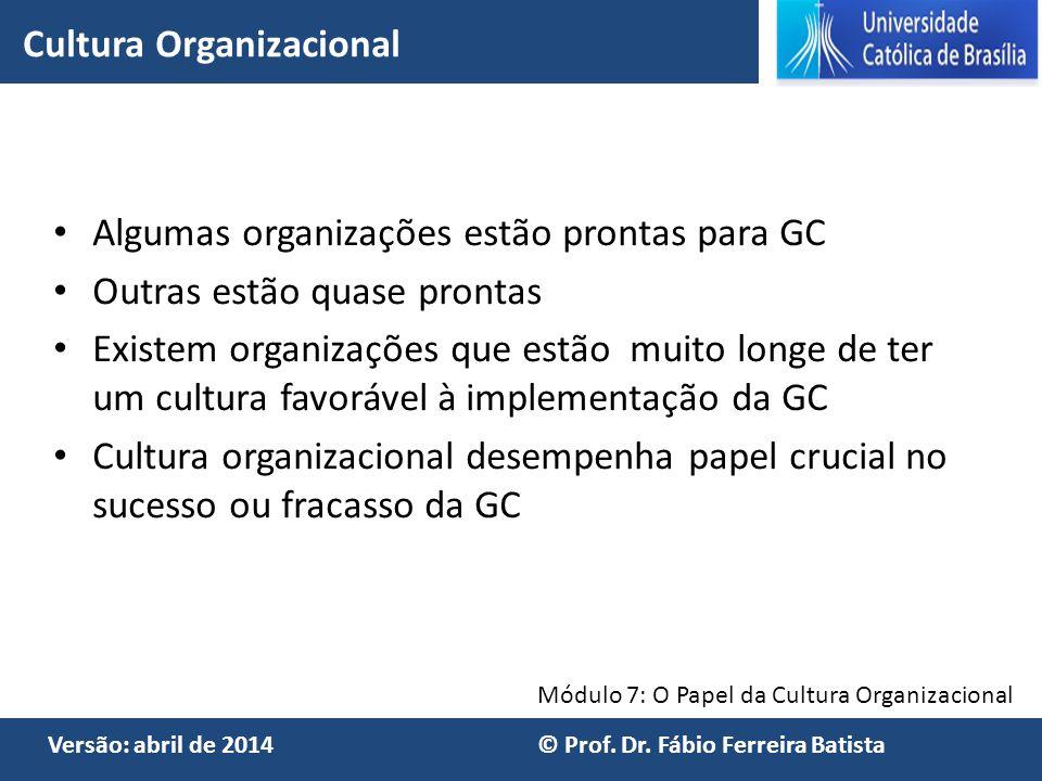 Módulo 7: O Papel da Cultura Organizacional Versão: abril de 2014 © Prof. Dr. Fábio Ferreira Batista Algumas organizações estão prontas para GC Outras
