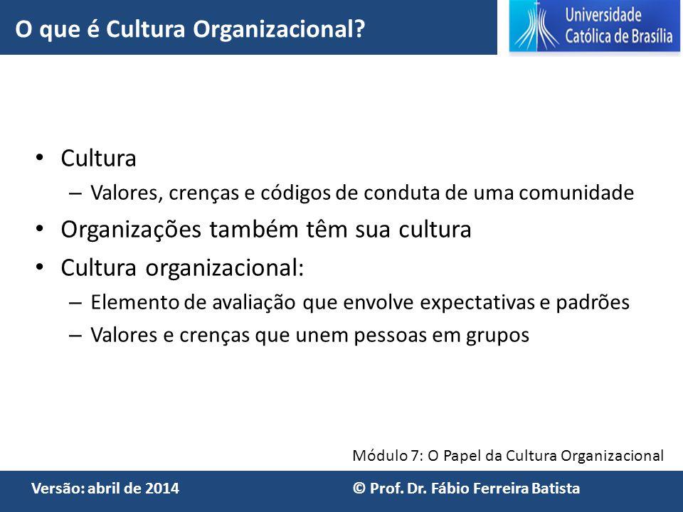 Módulo 7: O Papel da Cultura Organizacional Versão: abril de 2014 © Prof. Dr. Fábio Ferreira Batista Cultura – Valores, crenças e códigos de conduta d