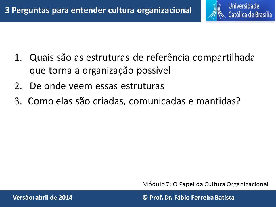Módulo 7: O Papel da Cultura Organizacional Versão: abril de 2014 © Prof. Dr. Fábio Ferreira Batista 1.Quais são as estruturas de referência compartil
